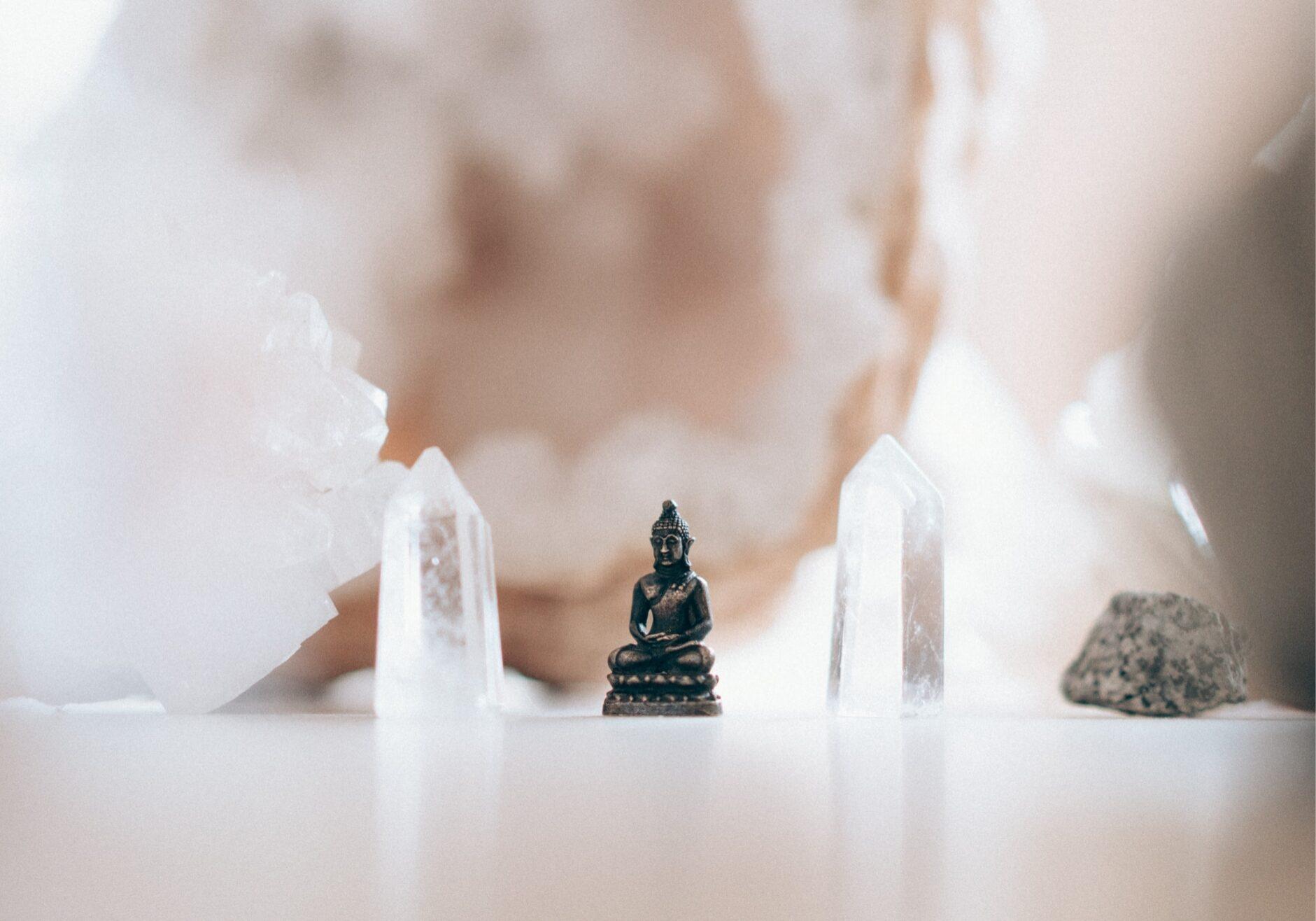 Kristallen met Buddha beeld
